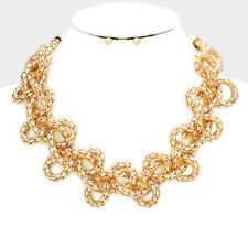 Gorgeous Statement Gold Braided Metal Chain Necklace Set By Rocks Boutique