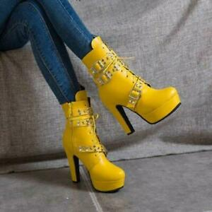 Womens High Block Heels Rivets Buckle Strap Ankle Riding Boots Zipper Shoes Lady