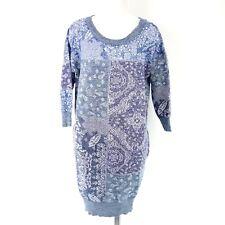 Diesel Women's Dress M Kerchief Abito Sz. 40 L Blue Canvas Knitted NP 169