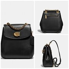 Coach 52670 Parker Convertible Backpack 16 Black Smooth Leather Gold Small NWT