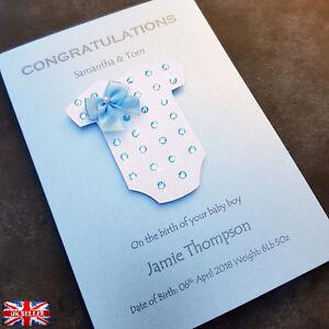 Personalised New Baby Boy Card Handmade Congratulation Blue Grow Bow Custom UK
