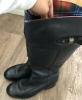 Clarks Plus Black Leather Knee high boots with Strathmore Tartan Lining UK 6.5