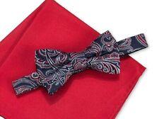 Countess Mara Men's Bow Tie Paisley Adjustable Navy Red Burgundy Silk New NWT