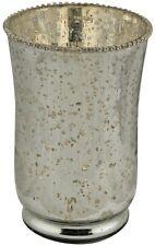 Stile Vintage Anticato Argento Anticato mercurio Vetro Vaso di Fiori di Perline NUOVO 23cm