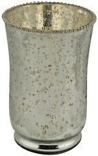 Vintage Style Antiqued Antique Silver Mercury Glass Beaded Flower Vase NEW 23cm