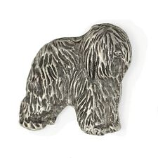 Polish Lowland Sheepdog, silver covered pin, high qauality Art Dog Ca