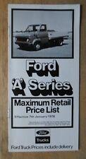 FORD A SERIES orig 1978 UK Mkt Retail Price List Brochure