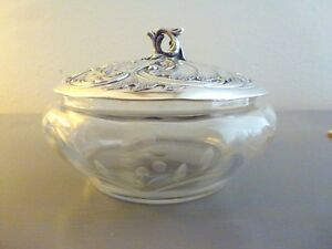 ANTIQUE FRENCH CRYSTAL NANCY JAM POT W/ SILVER PLATED COVER