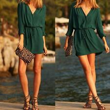 Women Casual Chiffon Long Sleeve Evening Cocktail Party Beach Mini Dress M