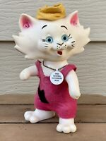 1969 ROY DES TOY KITTY CAT COIN BANK HARD PLASTIC HEAD TURNS FELT OVERALLS VTG
