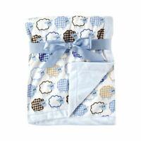 Hudson Baby Boy Blanket with Plush Backing, Blue