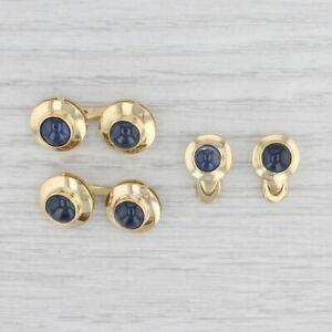 Vintage Blue Sapphire Cufflinks Shirt Studs Set 18k Yellow Gold Suit Accessories
