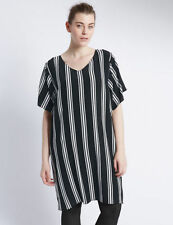 Viscose Short Sleeve Mini Striped Dresses for Women