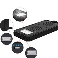 Solar Power Bank 100000mAh Portable Dual USB External Waterproof Battery Charger