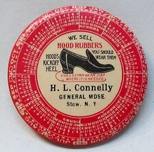 1912-1913 HOOD RUBBERS Stow NEW YORK Calendar celluloid pocket mirror *