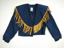 Vintage Western Denim Leather Fringe Jacket Hairston Roberson Ropa Large
