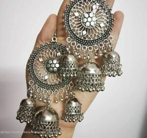 India Traditional Oxidized Bollywood Jewelry Big Top Earrings Silver Jhumka