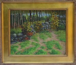 Robert Stantial (American,Active 1920-1940) Original Oil Painting Bronx Park NYC