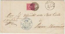 PIEGO DA VENZONE CON 10 CENT  ROSSO E TIMBRO NUMERALE A SBARRE 2673 DEL 1880