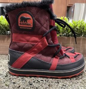 SOREL Glacy Explorer Shortie Red Winter Snow Boots NL2079-259 Women's Size 6.5