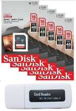 Lot 5 x SanDisk Ultra 16GB 16G SD HC Class 10 48MB/s UHS-I & Memory Card Reader