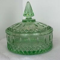 Vintage Indiana Glass Pastel Green Princess Candy Dish With Lid NIB Beautiful!