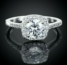 3.00 Ct Round Cut Halo Pave Wedding Ring Set Women's Size 4-13 in 18K White Gold