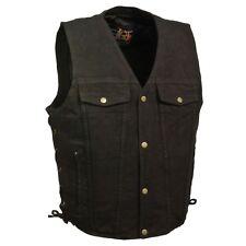Milwaukee Leather Men's Side Lace Denim Vest W/ Two Chest Pockets  **DM1360 BLK