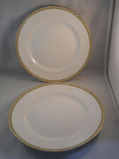 VINTAGE CLEVELAND CHINA 2 DINNER PLATES 720 WARRANTED 18 CARAT GOLD GHB CO