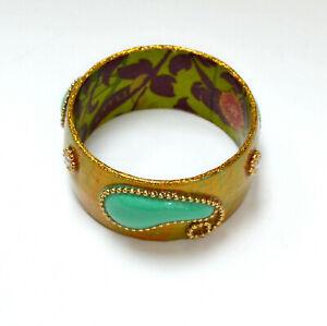 Iris Designs Gold Turquoise Pearl Enamel Paisley Chunky Wide Bangle Bracelet