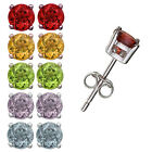 Set of 5 Pairs Sterling Silver Multi Color Genuine Gemstone 5mm Stud Earrings