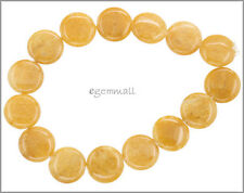 14 Yellow Aventurine Flat Round Coin Beads 14mm #78245