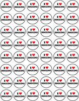 I LOVE DOGGING CIRCLE SHAPE STICKER x 48 Novelty / Humorous - 3 cm x 3 cm