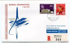 FFC 1970 Luftpost First Direct Flight Basel Warschau REGISTERED Helvetia