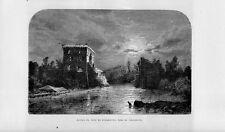 Stampa antica BORGHETTO di VALEGGIO sul MINCIO notturno Verona 1877 Old print