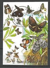 Papillons Saint Thomas et prince (34) bloc oblitéré