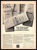 1964 New York Life Insurance Will Mortgage Deed Summons Paper Documents Print Ad
