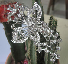 "2.8"" LONG SILVER & WHITE DIAMANTE RHINESTONE CRYSTAL BUTTERFLY  BROOCH PIN"