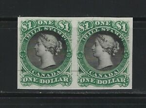 CANADA REVENUE - #FB33 - $1 BLACK & GREEN BILL STAMP PLATE PROOF PAIR ON CARD