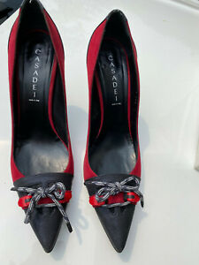 Casadei women's size 10 red suede and black leather pumps