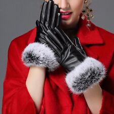 Women Touch Screen Leather Gloves Autumn Winter Warm Rabbit Fur Mittens Black
