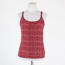 Maroon red white cheetah cotton blend NEW YORK & COMPANY spaghetti strap tank S