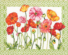 Cross Stitch Kit ~ Dimensions Poppy Pattern Bright & Colorful Flowers #70-35350