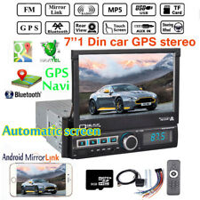 7'' 1 Din Car Radio GPS Navi MP5 Player Touch Screen Bluetooth Stereo EU Map USB