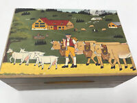 Vintage Hand Painted Wood Music Box Reuge Swiss Made Plays Somewhere My Love