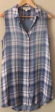 Anthropologie Cloth & Stone Top Size Small Blue Plaid Shirt Tunic Sleeveless