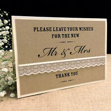 VINTAGE STYLE WEDDING GUEST BOOK SIGN / WISH TREE SIGN WITH IVORY LACE & RIBBON