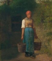 Girl Carrying Water Jean-Francois Millet Fine Art Print on Canvas Wall Decor Sm