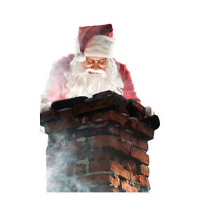 SANTA IN CHIMNEY CHRISTMAS DECORATIONS LIFESIZE CARDBOARD STANDUP STANDEE CUTOUT