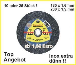 Trennscheiben Dünne Ausführung 180x1,6 oder 230x1,9 mm Klingspor A46TZ INOX